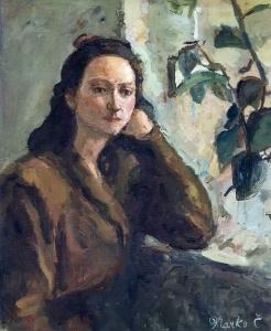 Devojka_i_lišće_ulje_na_platnu_1948